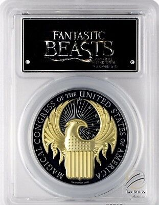 2017 $10 Cook Isles FANTASTIC BEASTS 1oz Gilded Blk Silver Prf PCGS PR70DCAM FS