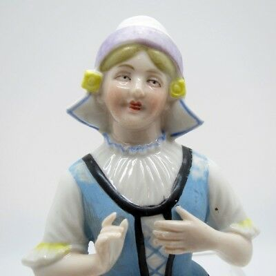 Antique Half Doll Dutch Girl In Hat and Ruffled Collar Pin Cushion