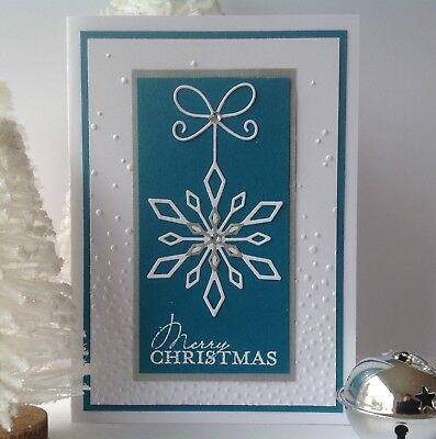 Handmade Christmas card; Fresh snowflake - indigo blue.