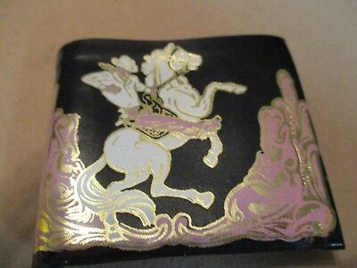 Vintage Unused Vinyl Wallet Cowboy On Rearing Horse. Grants $1.00 Sticker