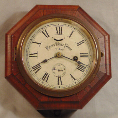 Antique New Haven Lever Timepiece 1 Day Octagonal Wooden Wall Clock