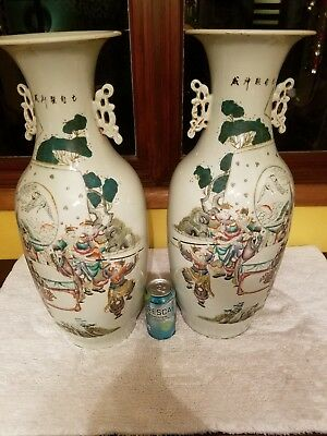 Antique Chinese Pair Family Rose Of Porcelain Vases Marked Asian China