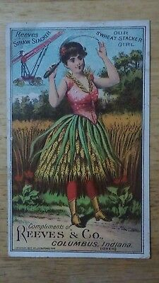 Reeves Straw Stacker   Reeves & Co      Columbus Indiana    Victorian Trade Card