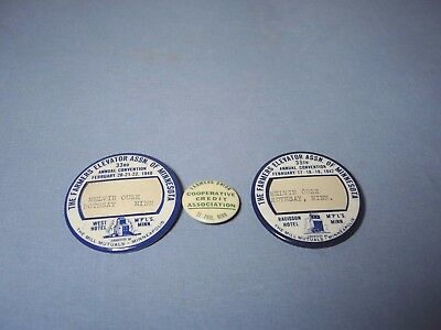 3 Vintage 1940's Pinbacks Farmers Elevator Assn & Coop Credit Mps St. Paul MN