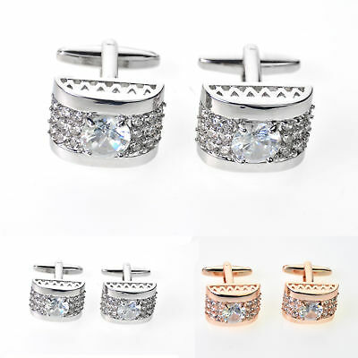 Gold white crystal silver mens cufflinks shirt cuff links wedding party gift