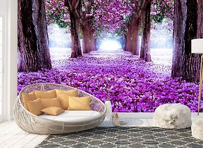 Wall Mural Photo Wallpaper Picture EASY-INSTALL Fleece Purple Roses Avenue Image