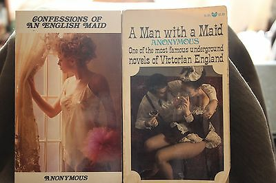 2 vintage paperback book english maid + man with a maid  victorian sleaze gga