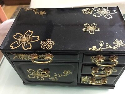 Miniature Japanese cabinet black lacquer on softwood 12cm wide 7cm long 8cm high