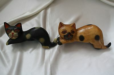 Antique Wood Carving Lucky Cat Pair Of Two