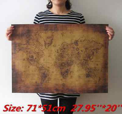Large Vintage Style Retro Paper Poster Globe Old World Map Gifts 71x51cm Hot