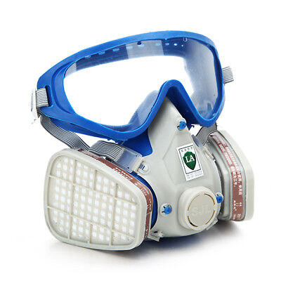 Silicone Full Face Respirator Gas Mask & Goggles Comprehensive Cover Paint Chemi