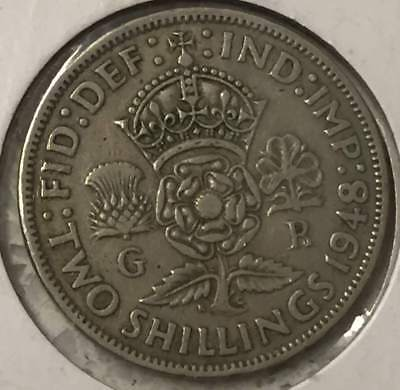 1948 Great Britain  Very Good VG 2 TWO SCHILLING CU-NI GOOD UK COIN