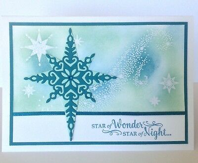 Handmade Christmas card; Night Sky - indigo blue.