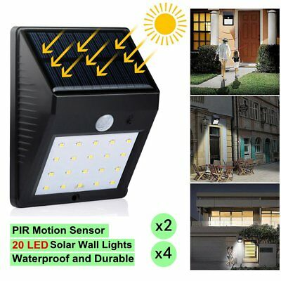 Solar Wall Lights Outdoor 20 LED PIR Motion Sensor Garden Security Lamp 2/4PCS