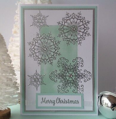 Handmade Christmas card; Snowing - Aqua with silver.