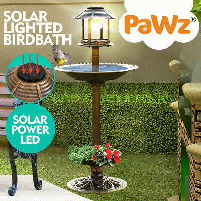 Ornamental Traditional Garden Bird Bath Feeding Station Food Feeder Solar Light