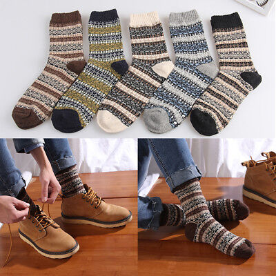 1/5Pairs Mens Warm Thick Wool Cashmere Casual Dress Retro Winter Boys Socks Gift