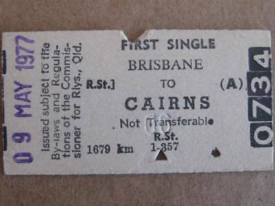 BRISBANE to CAIRNS SINGLE 1st CLASS CARD TICKET QUEENSLAND RAILWAYS 9 MAY 1977