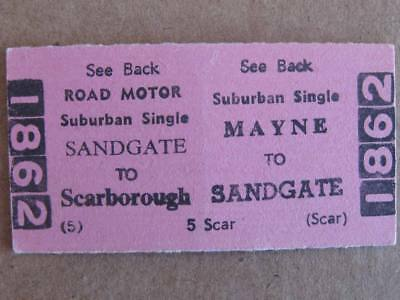 MAYNE to SANDGATE to SCARBOROUGH (HORNIBROOK) CARD TICKET QUEENSLAND RAILWAYS