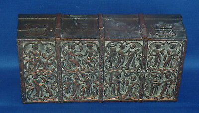 A lovely Victorian copper gothic, medieval style casket, Henry II, king figure