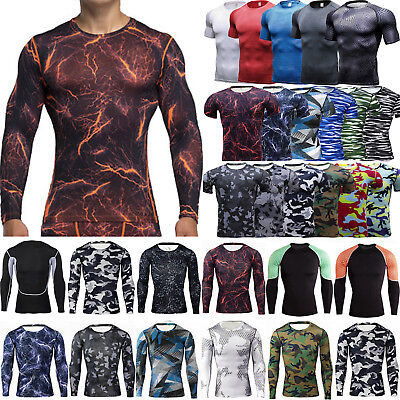 Men Compression Under T-shirt Base Layer Sport Gym Tight Long/ Short Sleeve Tops