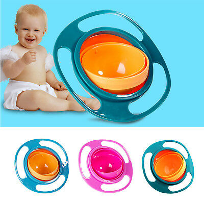 Kids Baby Children Non-Spill Feeding Dish Gyro Bowl 360 Rotate Bowl Dishes Lid