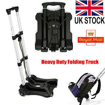 Heavy Duty Folding Foldable Hand Sack Truck Barrow Cart Wheel Trolley Black 35Kg