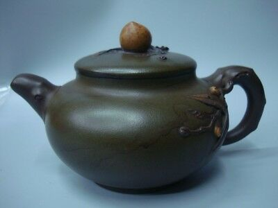"Antique Chinese Have Carved Zisha Pottery Clay Teapot Marked ""DaoHan"""