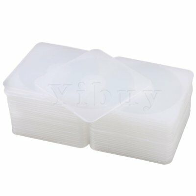 3.5mm Clear Plastic Slim Rounded Square Single Case for CD/DVD Set of 50
