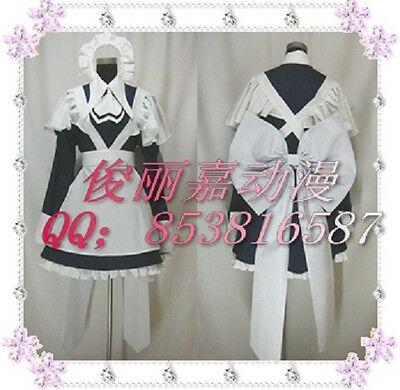 Chobits Yuzuki Black Halloween Maid Dress Set Cosplay Costume J001