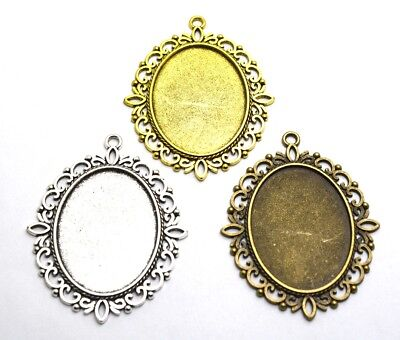 4pcs 30x40mm Antique Silver/Bronze Lace Cabochon Tray Base Setting Charm Pendant