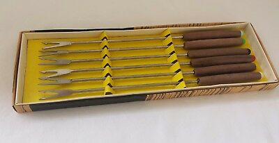 Retro 70s Vintage Fondue Forks Boxed 6 Stainless Steel Colored Wooden Knobs GC