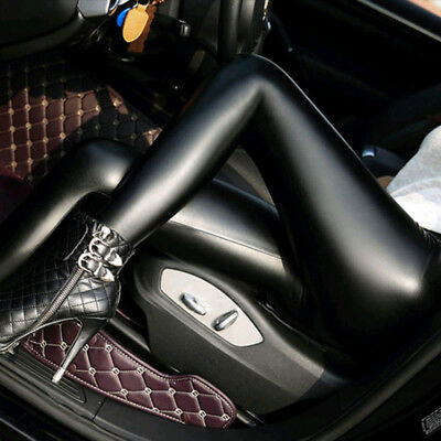 Women Skinny Faux Leather Stretchy Pants Leggings Pencil Tight Trousers Showy