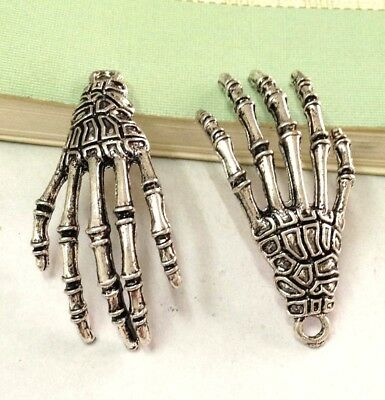 5pcs of Antique Alloy Steampunk Skeleton Hand Charms Pendant 20x40mm