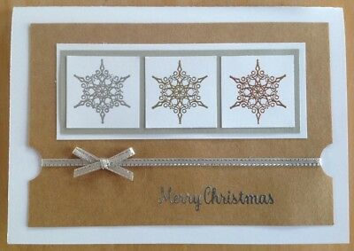 Handmade Christmas card; metallic snowfakes.