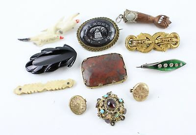 Vintage & Antique COSTUME JEWELLERY / Accessory Lot MOURNING, Bone Toothpick