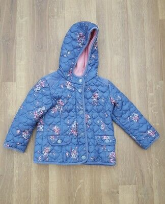 Next Girls Floral print Coat Hooded age 2-3 Years Jacket blue pink