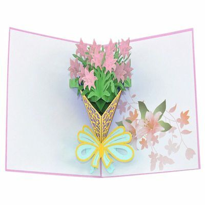 3D Pop Up Congratulations Greeting Card A Bouquet of Pink Lilies for Valent Y1X0