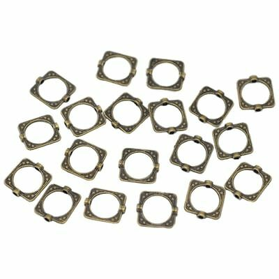100 Bronze Tone Square Bead Frames 15x14mm- Jewellery Making Findings DIY B I6H5