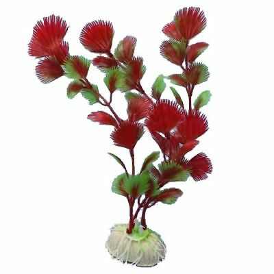 Red Plastic Fern Plants Water Fish Tank Landscaping Aquarium Ornament Decor P4H5