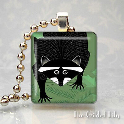 RACCOON  FOREST ANIMAL Scrabble Tile Altered Art Pendant Jewelry Charm