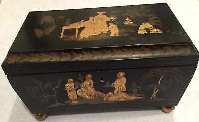 ANTIQUE CHINESE TEA CHEST-Silver Key w/Tassel-3  inner Compartments