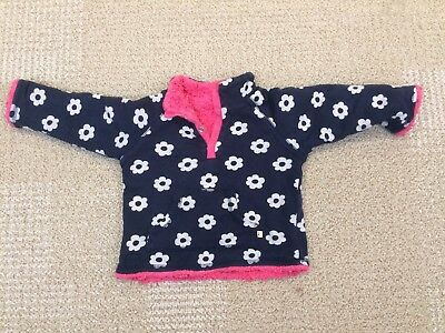Frugi Baby Reversible Organic Jumper 12-18 Months - Blue Flower, Pink Fleece