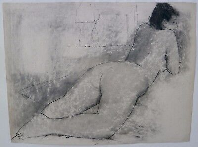 Nude Lying on Her Stomach- 18 x 24 Drawing-1960s-August Mosca