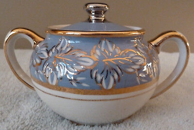 Beautiful and rare Sadler lidded sugar bowl - French blue, gold and white leaves