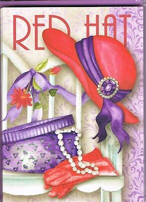 Red Hat Society - 10  Small Cards & Purple Envelopes - Red Hat, Pearls, Hatbox