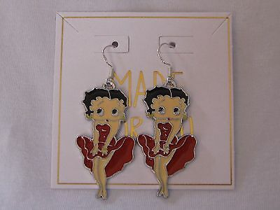 Betty Boop Fashion Dangle Earrings~Red Dress Pin Up Pose~Enamel Charm~925 Wires~