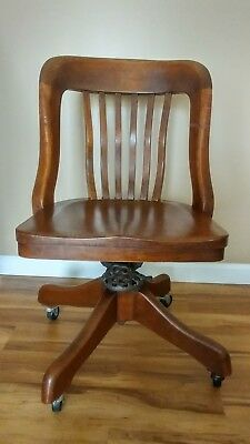 Antique Vintage Milwaukee Chair Co Oak Desk Office Library Swivel Wood Chair