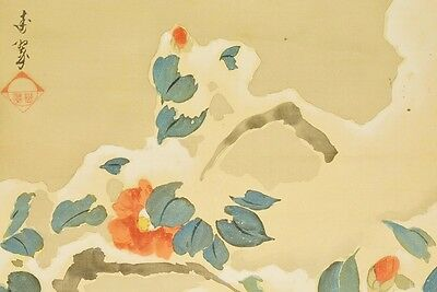 """Hanging Scroll 76"""" Japanese Painting Camellia Sparrow Japan Antique flower b675"""
