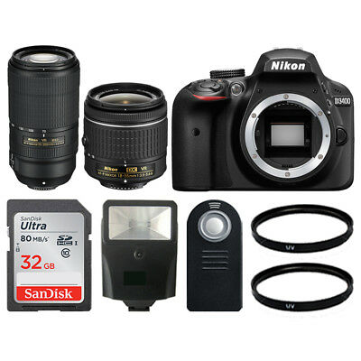 Nikon D3400 DSLR Camera +18-55mm +70-300mm VR +Remote +Flash +Great Value Bundle